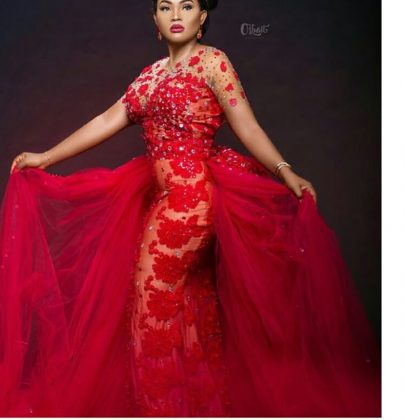 Designer gives out a bride's reception Dress to Mercy Aigbe…